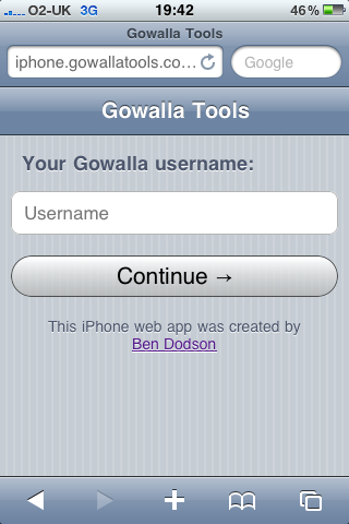 Gowalla Tools - Login